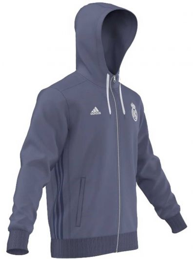Adidas Men's Real Madrid 3 Stripes Zip-Up Hoodie