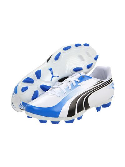Puma Excitemo ¡ FG White/Black/Royal Firm Ground Soccer Shoes