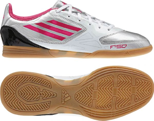 adidas Women's F5 IN Silver-Pink Indoor Soccer Shoes