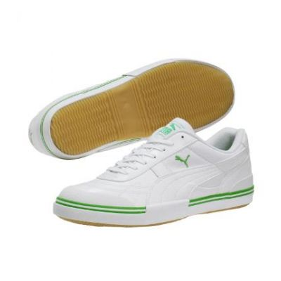 Puma Paulista White/Green Indoor Soccer Shoes
